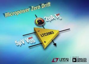 Amplificateur opérationnel à dérive de tension nulle consommant 1,3µA |Linear Technology