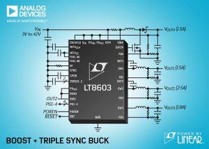 Triple convertisseur abaisseur, synchrone, monolithique, 42V | Analog Devices