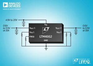Régulateur µModule double 15A ou simple 30A, pic de rendement à 96% | Analog Devices