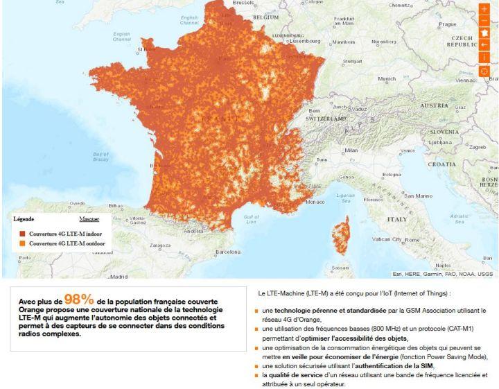 Orange lance la technologie LTE-M sur son réseau 4G en France