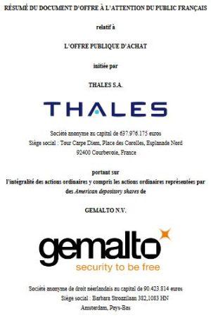 Thales fixe au 28 mars la clôture de son offre publique d'achat sur Gemalto