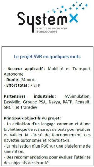 SystemX lance le projet Scénarios Véhicules Robots et navettes autonomes (SVR)