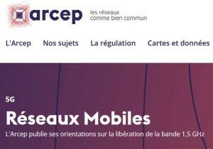 L'Arcep publie ses orientations sur la libération de la bande 1,5 GHz pour la 5G