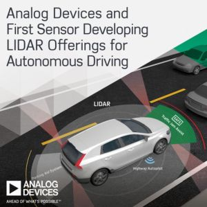 Analog Devices coopère avec First Sensor dans les capteurs Lidar