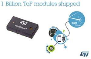 ST a livré un milliard de modules de détection de la distance par mesure du temps de vol (ToF)