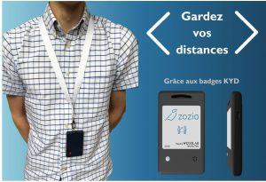 Asteelflash industrialise un badge français de distanciation développé par Zozio et Wizzilab