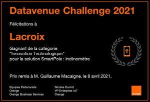 L'offre Impulse de Lacroix, dédiée au développement de solutions IoT industrielles et d'applications électroniques critiques, a remporté le prix «Innovation/Tech» pour sa solution SmartPole dans le cadre du Datavenue Challenge 2021. Organisé par Orange,