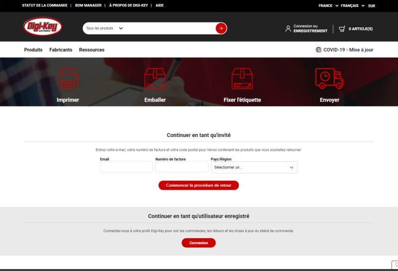Digi-Key Electronics améliore son portail en ligne dédié aux retours et aux problèmes de commande