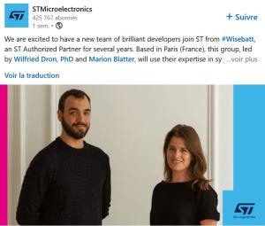 STMicroelectronics reprend la start-up Wisebatt